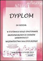 dyplom za udział w Festiwalu Kolęd i Pastorałek ŚDS (Miechów 2013)