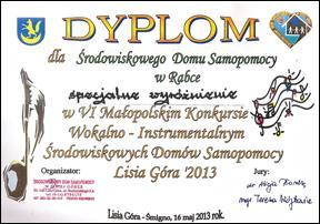 VI Małopolski Konkurs Wokalno-Instrumentalny ŚDS (Lisia Góra 2013)